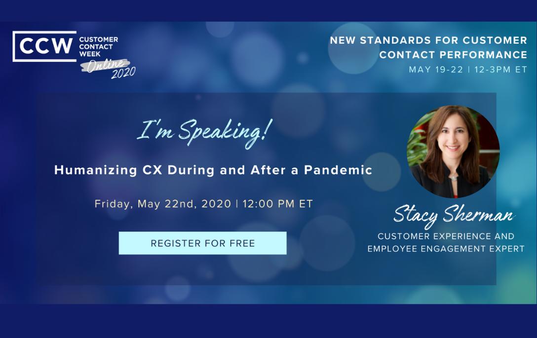 stacy sherman speaks at customer contact week online 2020