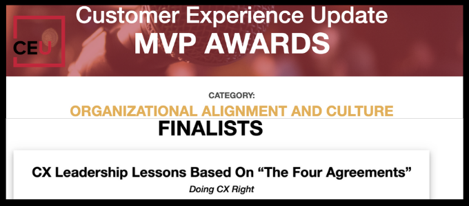 Stacy Sherman receives MVP award by Customer Experience   Update for DoingCXRight Four Agreements Leadership article