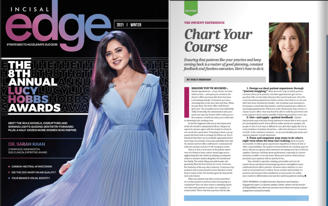 Stacy Sherman featured in Incisal Edge Magazine about Patient Experience Best Practices